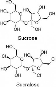 Notice the difference between sucrose and sucralose?