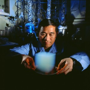 Man with a sample of an aerogel.