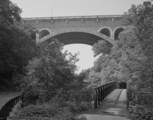 Henry Avenue Bridge crosses the Wissahickon - PD by Joseph Elliott (sharpened)