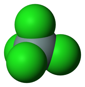 Silicon Tetrachloride Molecule - PD Wikimedia Commons by Benjah-bmm27