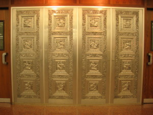 Bas-relief aluminum door in the Hunt Library.
